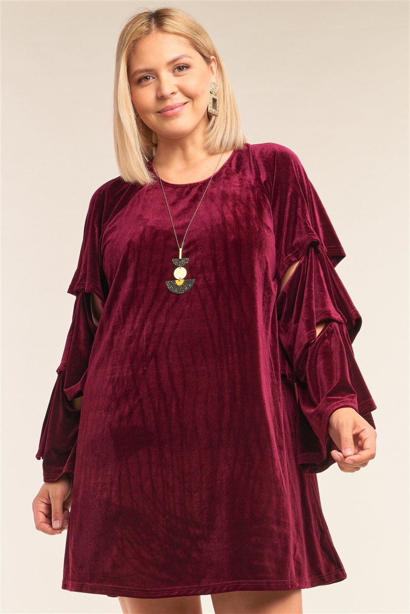 Junior Plus Size Lady Macbeth Wine Red Velvet Relaxed Fit Cut-Out Detail Layered Long Sleeve Mini Dress /3-2-1