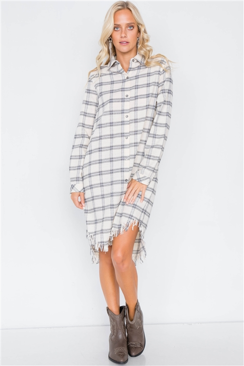 Ivory & Black Plaid Stripe Raw High-Low Hem Flannel Dress