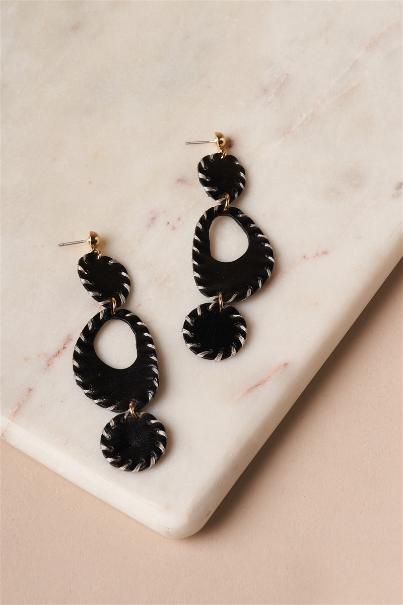 Black Baseball Stitched Vegan Leather Earrings