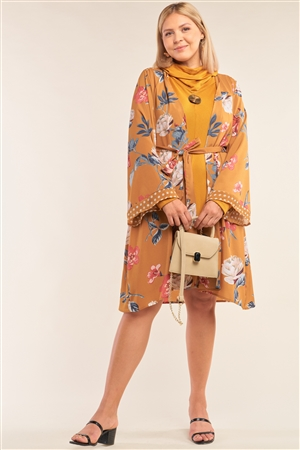 Junior Plus Size Mustard Floral Print Open Front Polka Dot Hem Sleeve Self-Tie Waist Kimono/Cover Up /3-2-1