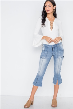 Denim Light Blue Mid-Rise Flare Cropped Jeans