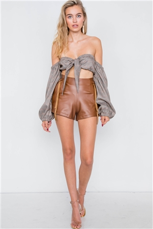 Camel Faux Leather Retro Mini Shorts