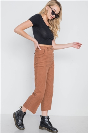 Camel Corduroy Wide Leg Cropped Pants