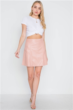 Blush High-Waist Vegan Leather Mini Skirt