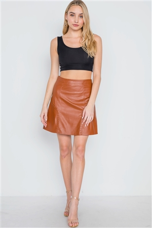 Camel High-Waist Vegan Leather Mini Skirt