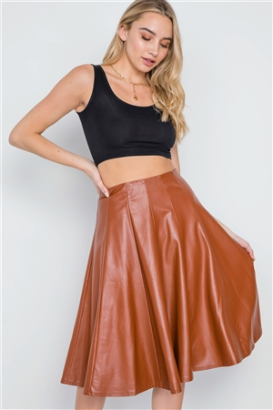 Camel Vegan Leather A-Line High-Waist Skirt