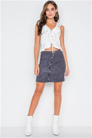 Navy Corduroy Scallop Front Mini Skirt
