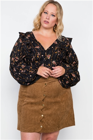 Plus Size Camel Corduroy Scallop Front Mini Skirt