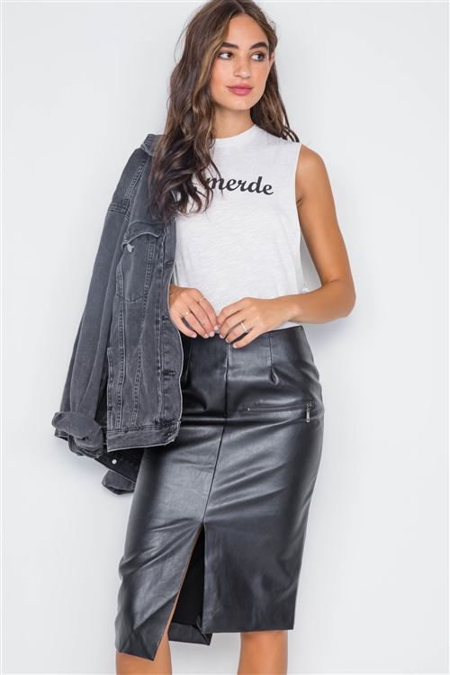Black Vegan Leather High-Waist Asymmetrical Hem Skirt