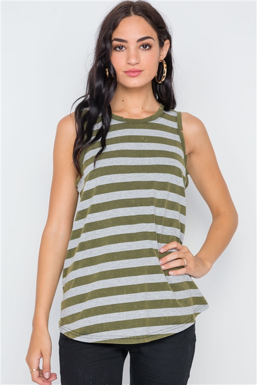 Olive Color-Blocck Distressed Striped Muscle Tank Top