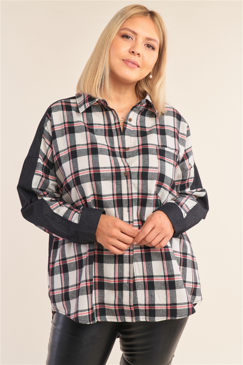 Junior Plus Size Ivory Relaxed Fit Asymmetrical Checkered Denim Cut-In Detail Long Sleeve Button Down Shirt /3-2-1