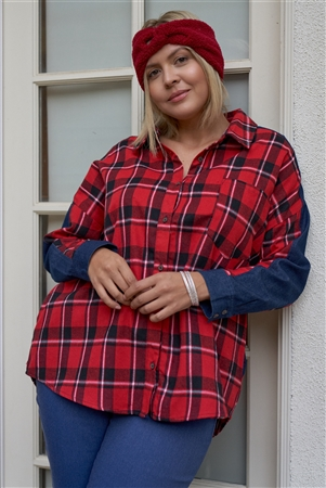 Junior Plus Size Buffalo Plaid Relaxed Fit Asymmetrical Checkered Denim Cut-In Detail Long Sleeve Button Down Shirt /3-2-1