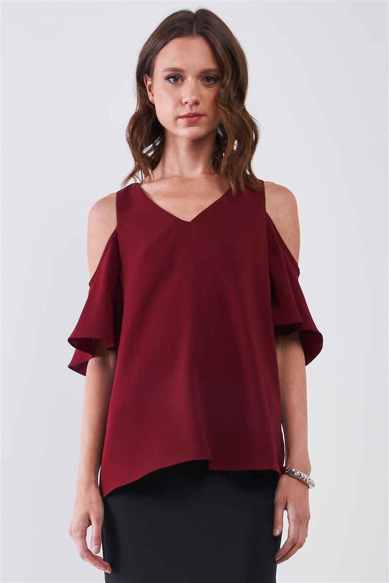 Burgundy V-Neck Cold Shoulder Detail Short Sleeve Relaxed Top /2-1-1-2
