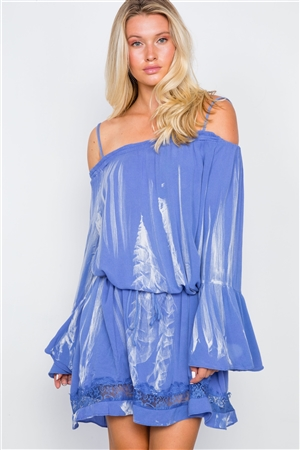 Blue Bell Sleeves Tie Dye Boho Mini Dress
