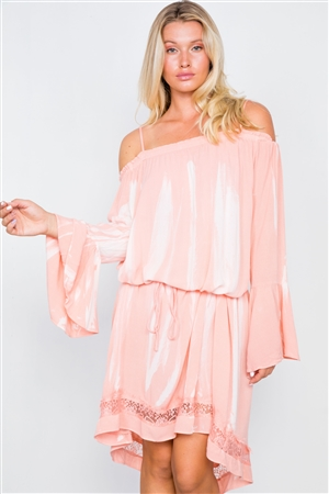 Indian Pink Bell Sleeves Tie Dye Boho Mini Dress