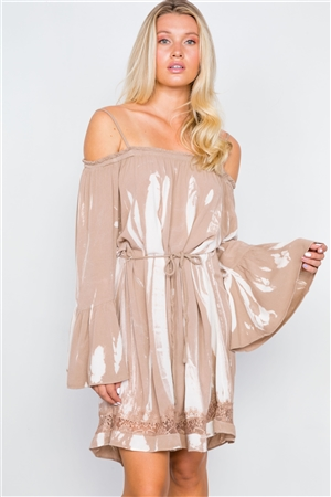 Tan Bell Sleeves Tie Dye Boho Mini Dress