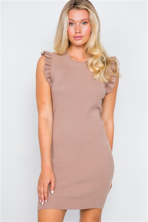 Mocha Knit Ribbed Bodycon Mini Dress