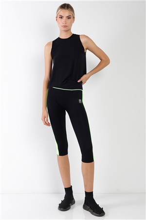 Black Green Contrast Stripe Active Sporty Leggings