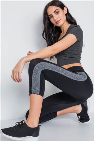 Black Grey Contrast Stripe Active Sporty Leggings