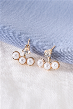 Gold Tripple Pearl Faux Diamond Stud Earrings /3 Pairs