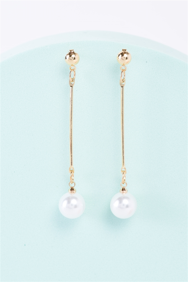 Gold Elegant Long Pearl Detail Drop Earrings /3 Pairs