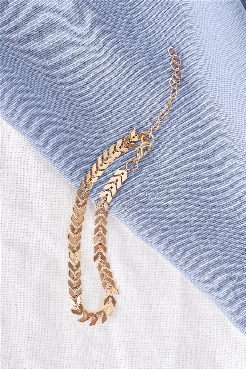 Gold Arrow Curb Anklet/ 3 Pieces