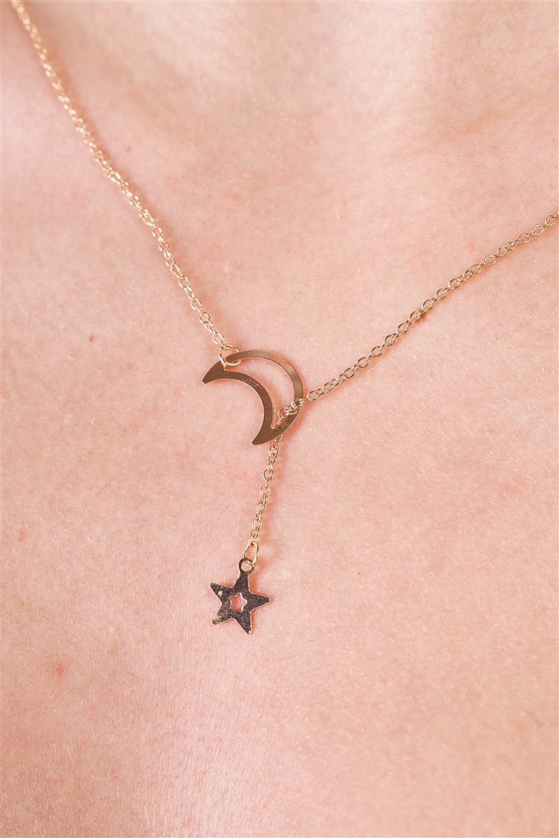 Gold Moon & Star Chain Open Necklace / 3 Pieces