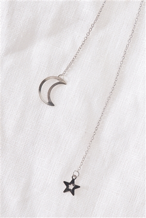Silver Moon & Star Chain Open Necklace / 3 Pieces