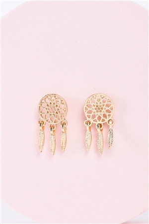 Small Dreamcatcher Gold Stud Earrings /3 Pairs