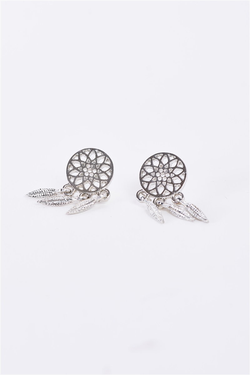 Small Dreamcatcher Silver Stud Earrings /3 Pairs