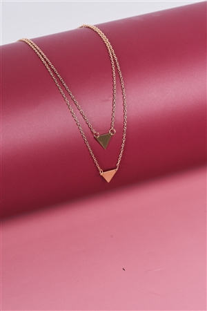 Gold Double Length Chain Triangle Accents Necklace /3 Pieces