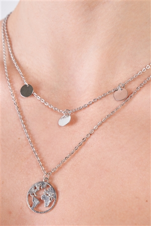 Silver Layered Globe Charmed Necklace / 3 Pieces