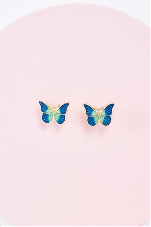 Gold & Blue Small Butterfly Stud Earrings /3 Pairs