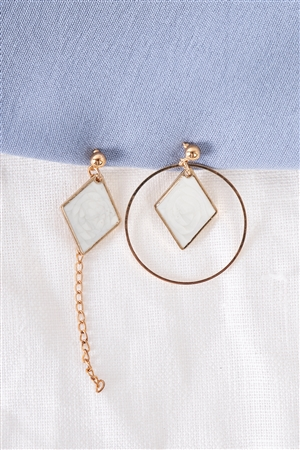 Gold & White Rhombus Asymmetrical Earrings / 3 Pair