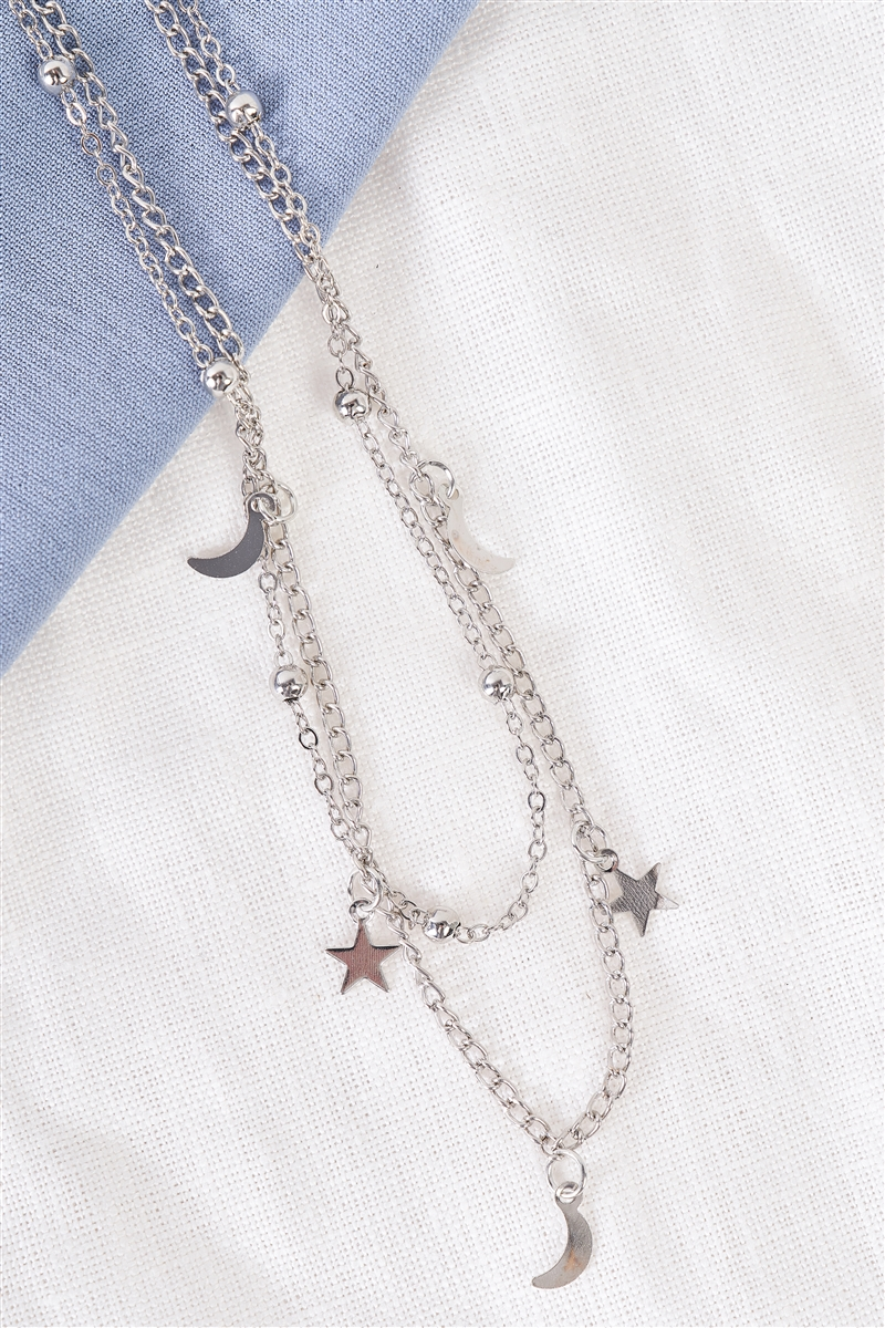 Night Sky Silver Beaded Double Chocker Necklace /3 Pieces