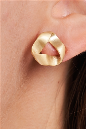 Vintage Matte Gold Twisted Stud Earrings /3 Piece