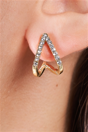 Gold Rhinestone Split Huggie Stud Earrings /3 Piece