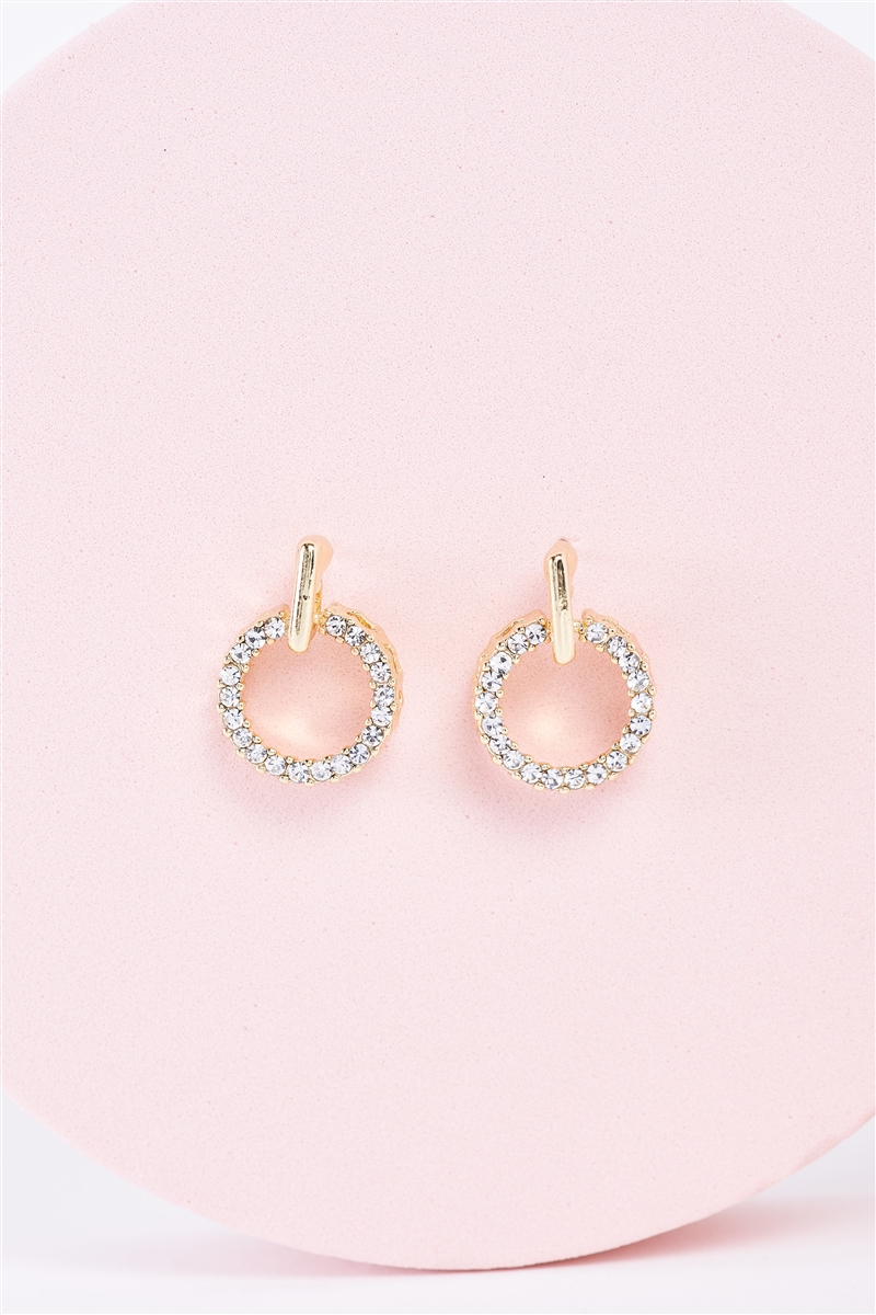 Gold Rhinestone Circle Mini Drop Earrings / 3 Pairs
