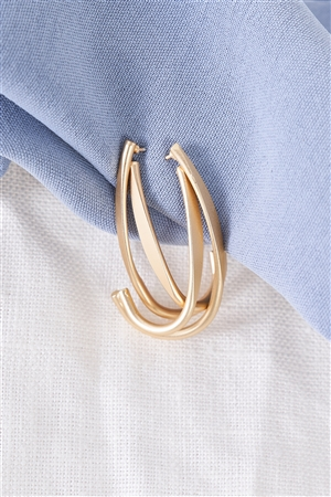 Gold Double Hook Earrings / 3 Pairs