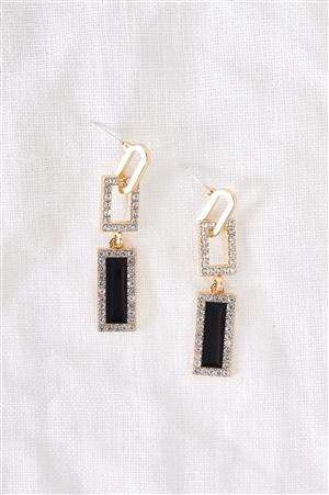 Gold & Black Rhinestone Geo Linked Drop Earrings / 3 Pairs
