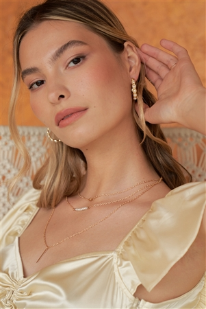 Boho Gold Pearl Scalloped Huggie Hoop Earrings /3 Pieces