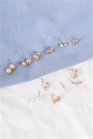 Gold Verity Stud Earrings Set / 3 Pieces