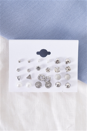 Silver Verity Stud Earrings Set / 3 Pieces