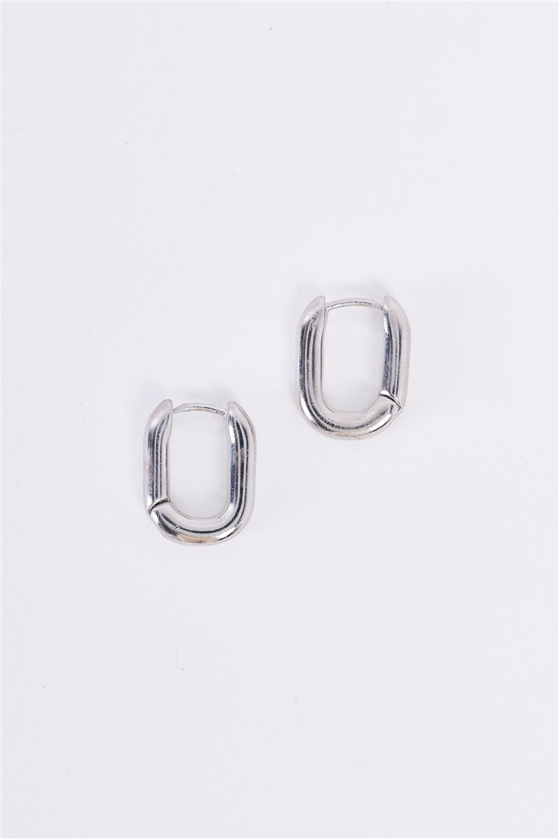 Silver Tiny Oval Huggie Earrings /3 Pieces