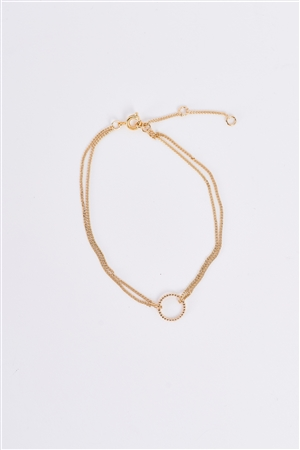 Gold Double Chain Ring Charm Bracelet /3 Pieces