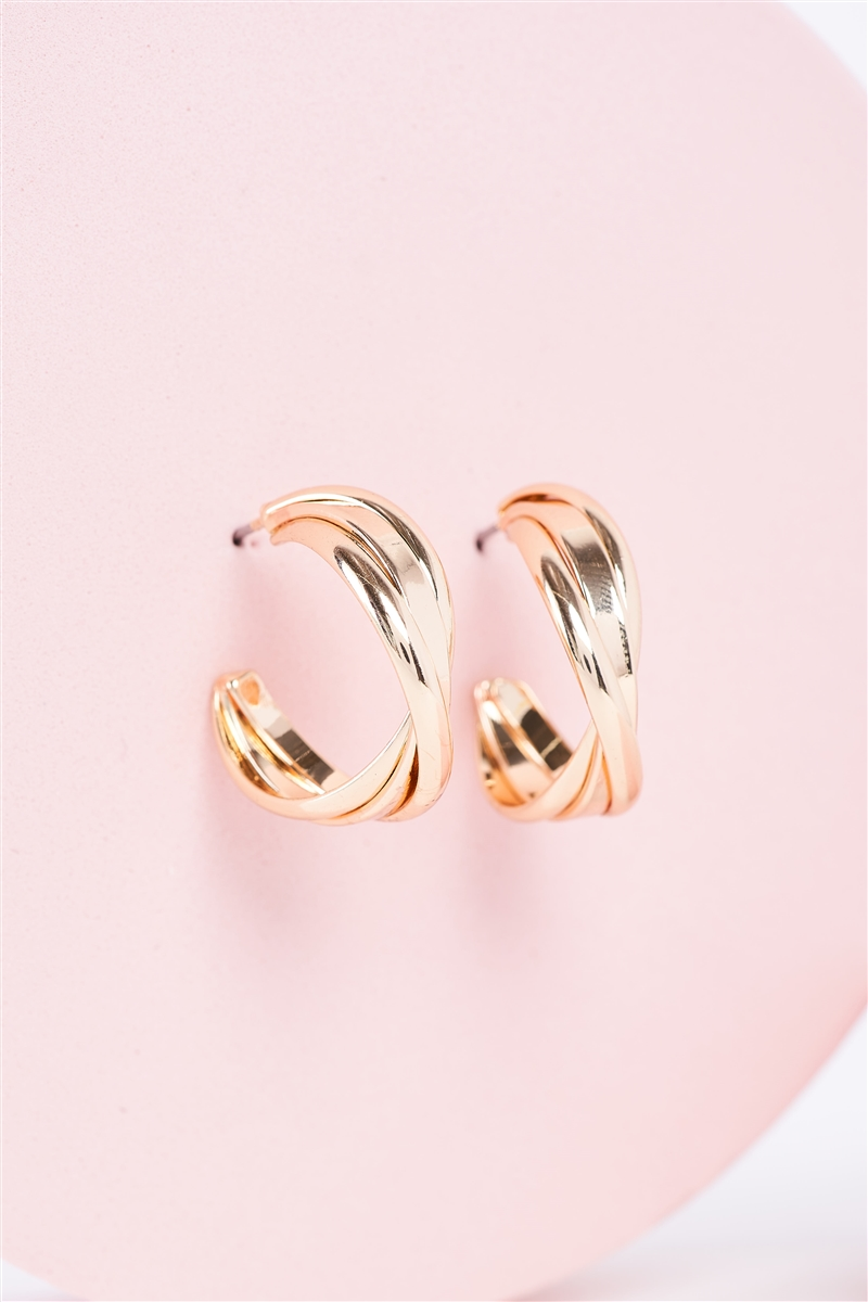 Gold Twisted Triple Small Hoop Earrings /3 Pairs