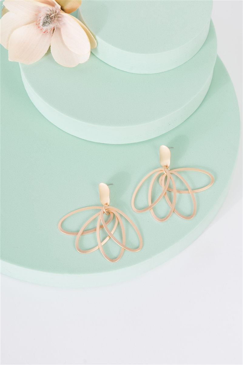 Gold Lilly Oval Multi Hoop Drop Earrings /3 Pairs