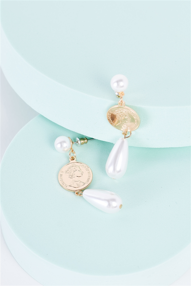 Gold Mexican Peso Coin & Pearl Detail Drop Earrings /3 Pairs