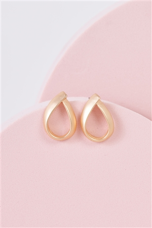 Matte Gold Looped Water Drop Stud Earrings /3 Pairs
