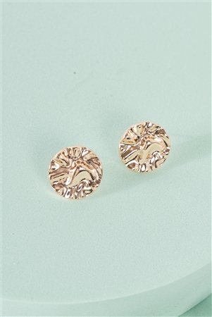 Gold Crushed Circle Stud Earrings / 3 Pairs